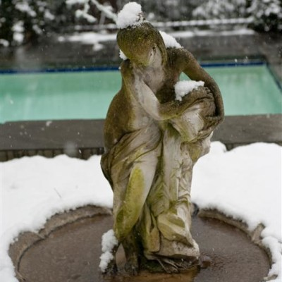 sculpture in snow above pool
