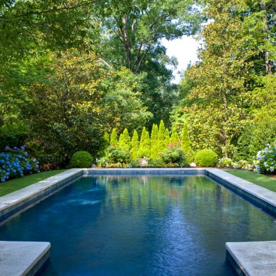 Hydrangeas and garden surrounding pool in birmingham, al