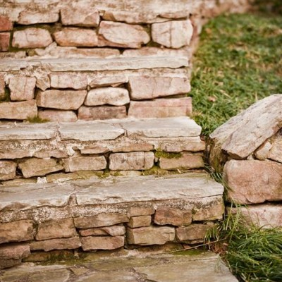 Curved stone steps