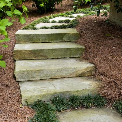 Curved Steps with Flat Pavers in Backyard