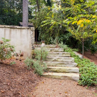 Terraced landscape with stone steps
